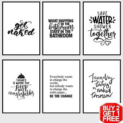 Bathroom Prints Minimalist Wall Art Pictures Funny Toilet Quotes Poster Picture