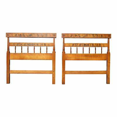 Vintage Pair Hitchcock Twin Bed Headboards Autumn Harvest Stenciled Maple