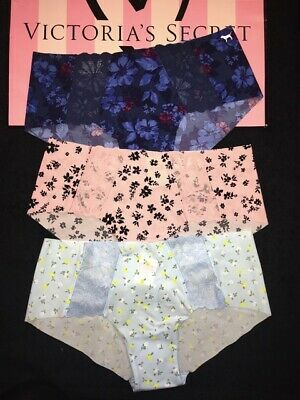 NWT Victorias Secret PINK No-Show Seamless Hipster Panties Floral-LOT OF 3- Sz M