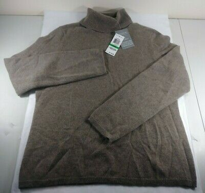 2 Ply Cashmere Charter Club Sweater Brown Turtleneck Pullover Womens Large NWT