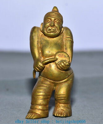 """3"""" Old China Copper Gold Dynasty Palace Stand People Statue Sculpture"""