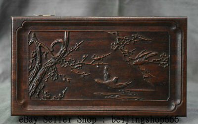 """10.4""""Old China Dynasty Huanghuali Wood Carved Flower BIrd Jewel Case Jewelry Box"""
