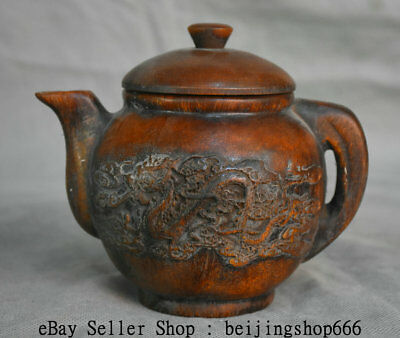 "5.8"" Marked Old Chinese Ox Horn Dynasty Dragon Phoenix Handle Teapot Teakettle"