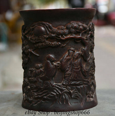 """6"""" Old Chinese Redwood Hand-Carved pine tree Old Man Brush Pot Pencil Vase"""
