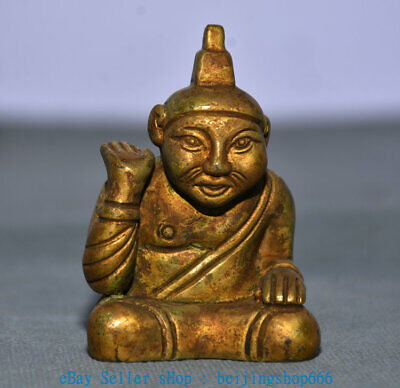 """2"""" Old China Copper Gold Dynasty Palace civil service People Statue"""
