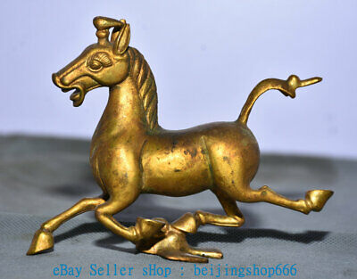 """5"""" Old China Copper Gold Palace Horse Stepping on Flying Swallow Statue"""