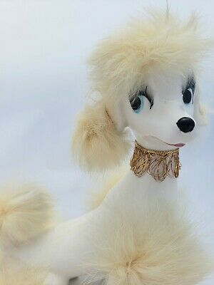 Adorable Vintage Kitschy Large Ceramic Poodle Figurine With Fur Made in Japan