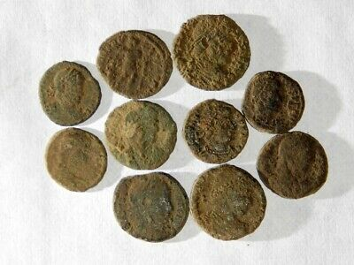 10 ANCIENT ROMAN COINS AE3 - Uncleaned and As Found! - Unique Lot 06808