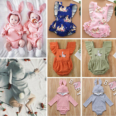 Toddler Infant Baby Girl Boy Easter Rabbit Clothes Bunny Romper Jumpsuit Outfits