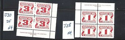 Canada Red Postage Dues Plate Blocks J30 & J28 Vf Mint Nh (Bs15018D)