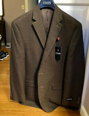 CHAPS Brown Houndstooth Men's Blazer Sport-jacket SIZE 42 REGULAR NEW WITH TAGS!