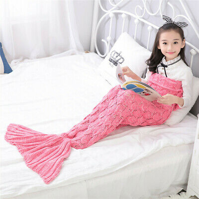 Child Colorful Knitted Blankets Mermaid Tail Blanket Sofa Cocoon Knitted Rugs AU