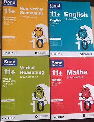 Bond 11+ Plus Books 10-11 Year Assessment Paper 10 MINUTES TEST set of 4 Book UK