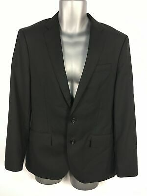 Mens J.crew Black 100% Wool Button Up Fitted Smart Work Suit Jacket Blazer 36 S