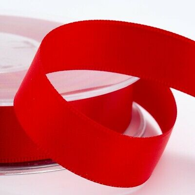 Red Satin Ribbon Double Sided Full Roll 3mm 6mm 10mm 16mm 25mm 38mm 50mm