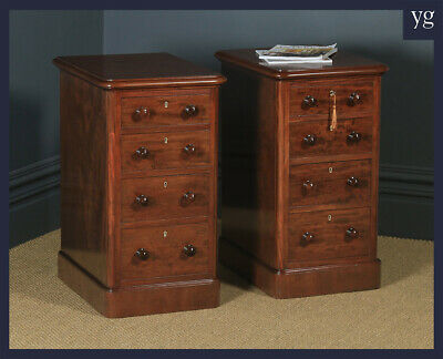 Antique English Pair of Victorian Figured Mahogany Bedside Chests Tables Stands