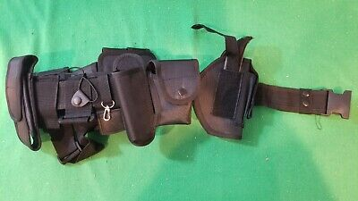 NEW, Black Full Tactical Police / Security Utility Belt w/Holster (Nylon)