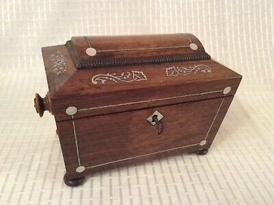Beautiful Antique Sarcophagus Tea Caddy Caddie Mother Of Pearl Inlay