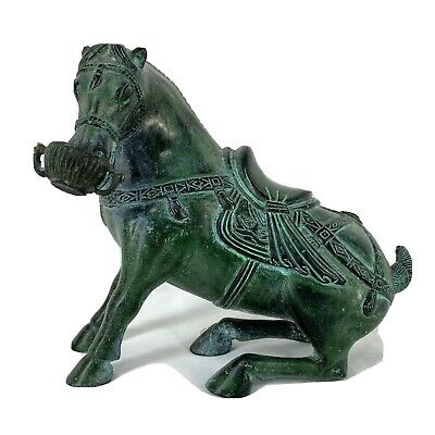 """Vintage Chinese Horse Tang Dynasty Style Bronze Statue Great Patina 8"""" x 7"""""""