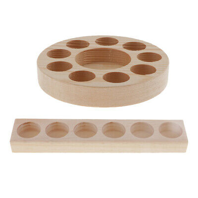 2x Wood Display Stand Holder Tray Essential Oil Organizer for Bottles or Rollers