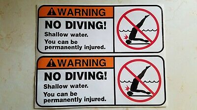 "No Diving Shallow Water Sticker Set of 2 SIZE is 8 7/8"" x 3 1/2"" each"