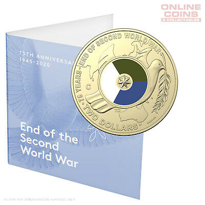 2020 RAM $2 'C' Mintmark Coloured Uncirculated Coin 75th Anniversary End WWII