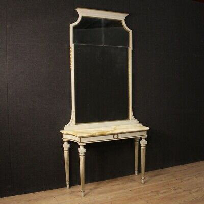 Console with Mirror Furniture Table in Wood Lacquered Antique Style Louis XVI