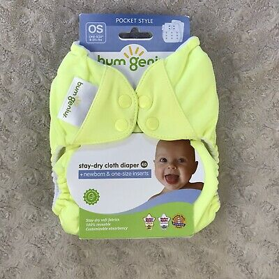 BumGenius Pocket Cloth Diaper One Size OS Snap Jolly Yellow Stay Dry 4.0
