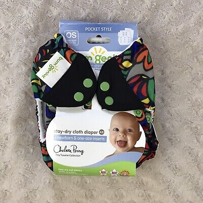 BumGenius 4.0 Pocket Cloth Diaper Chelsea Perry Top Hat Print Snaps One Size OS