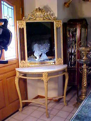 GORGEOUS RARE Antique LOUIS XIV Style MARBLE TOP Entry Table & Mirror ORNATE!