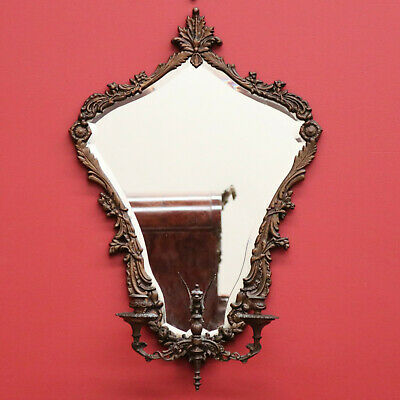 A Vintage French Brass Wall Mirror with 2 Branch Girandole Candle Stick Holders