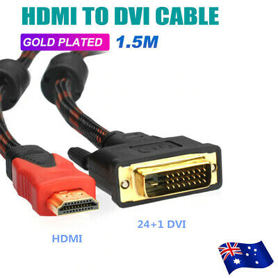 HDMI to DVI Cable Male DVI-D for LCD Monitor Computer PC Projector DVD Cord Lead