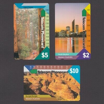 MINT Telecom unused set of 3 Western Australia Phonecards $2, $5, $10
