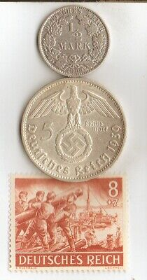 """*Two*german SILVER(.900%) coins-+WW2-Stamp of- """"SS""""- Combat ENGINEERS"""