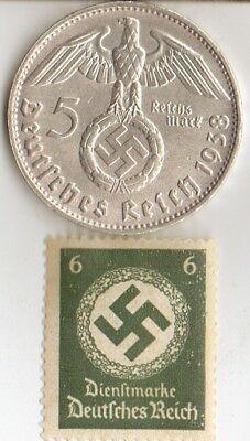 *WW2 - 5 mark(.900%)  *german  SILVER  EAGLE coin/stamp +*us STEEL  penny/stamp