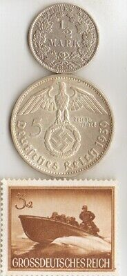 *Two*german SILVER(.900%) coins-+WW2-Stamp of- PATROL  Boat