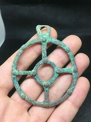 Huge Hallstatt Culture / Celtic Druids Bronze Amulet ''Wheel Of Life'' - 700 Bc