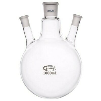 Glassco Round Bottom Flask Three Necks 1000ml Centre Neck 24/29 Angled 14/23
