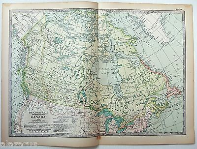 Original 1902 Map of The Dominion of Canada. Antique