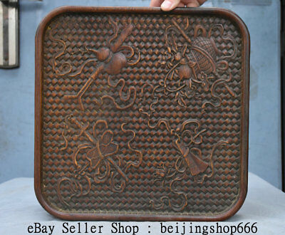 "12"" Old Chinese Dynasty Palace Huanghuali Wood Hand Carved Weapons Plate Tray"