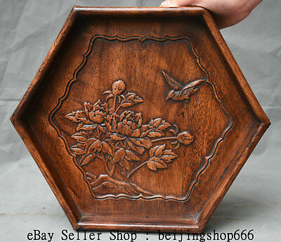 """14"""" Old Chinese Huanghuali Wood Hand Carved Dynasty Flower Bird Plate Tray Dish"""