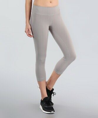 Grey Capri Leggings Size 8 Ladies Womens Sports With Wide Waistband