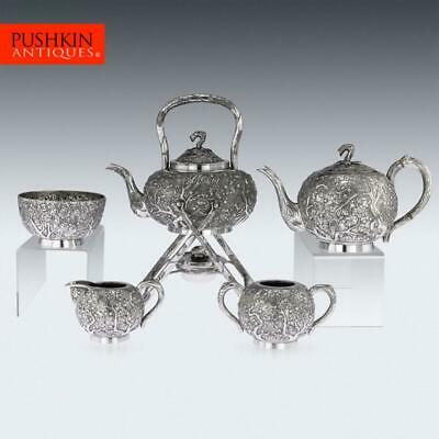 ANTIQUE 19thC CHINESE EXPORT SOLID SILVER TEA SERVICE, WANG HING c.1890
