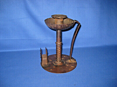 Antique 1900s Art & Crafts Goberg Candle Stick With Match Holder By Hugo Berger