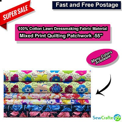 """100% Cotton Lawn Dressmaking Fabric Material Mixed Print Quilting Patchwork -55"""""""