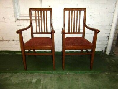Pair Of Oak Arts And Crafts Carver Chairs
