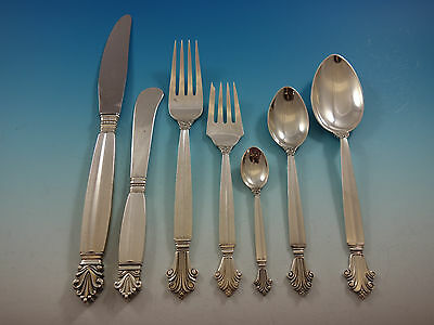 Acanthus by Georg Jensen Sterling Silver Flatware Set 12 Service 93 Pcs Dinner