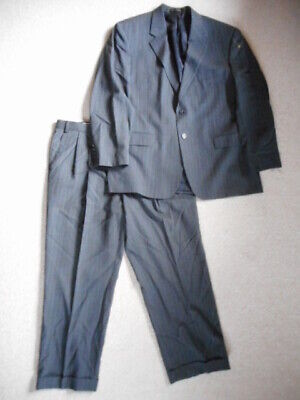 Mens Suit-CHAPS-RALPH LAUREN-gray pinstriped 100% wool lined-44R-38X28