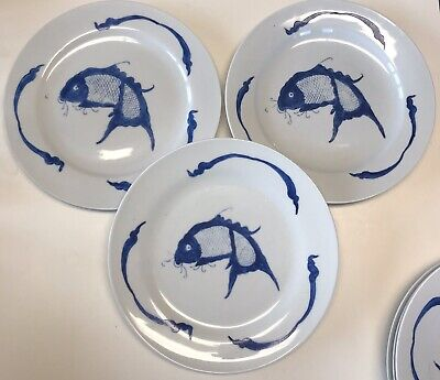 "Vintage 3 Chinese Porcelain 10"" Plate Blue Koi Carp Fish w/Mark Dish Dinner A"