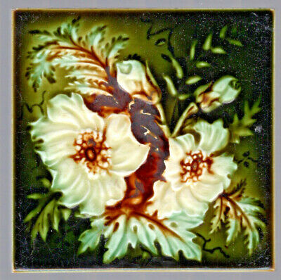 Henry Richards - c1903 - White Floral On Green - Antique Victorian Tile